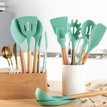 Scraper Kitchenware Spatula-Brush Pasta Server Turner Cooking-Tools Soup-Spoon Wood Silicone