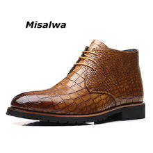 Misalwa Mens Dress Boots Vintage Style Outdoor Working Boots Yellow Brown Quality Leather Short Boots Big Size 38-48 Botas Hombre(China)