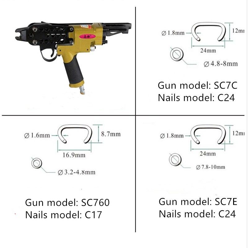 Free shipping High Quality SC760 Pneumatic C Shape Ring Plier Tool Air C-type Nailer Machine Cage Nail Gun Stapler