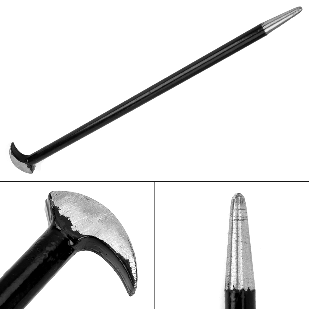 Round Rod Crowbar Nail Puller Steel Rooled Heel Bar 40cm Length Farm Engine Workshop Pry Bar Crowbars