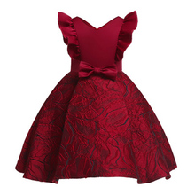 купить 2019 Kids Girls Flower A-line Dress Baby Girl Bow Birthday Party Dresses Princess Dress Fancy Princess Ball Gown Wedding Clothes дешево