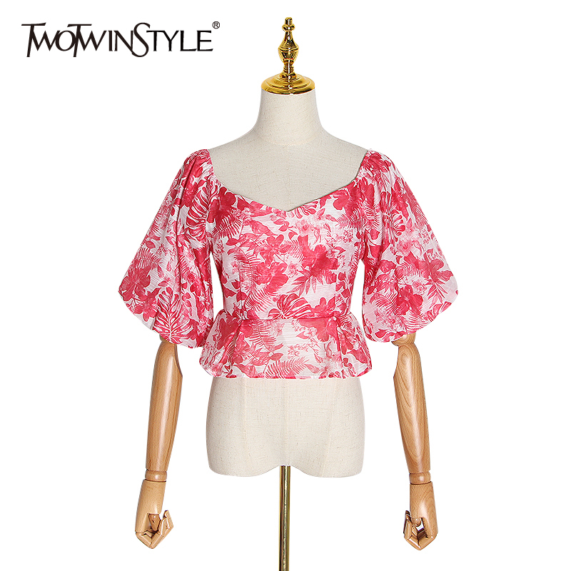 TWOTWINSTYLE Print Hit Color Ruffle Shirt For Women Square Collar Puff Short Sleeve Shirt Female 2020 Fashion Autumn New