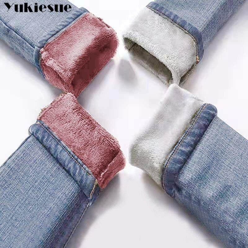 Invierno cálido Jeans Mujer 2019 alta cintura Casual terciopelo señoras pantalones vaqueros Mujer pantalones vaqueros para mujer talla grande