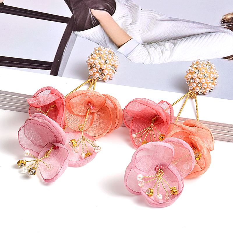 New Arrival Colorful Flower-Shaped Long Drop Earring Jewelry High-Quality Handmade Statement Big Earrings Accessories For Women