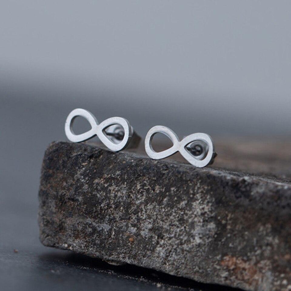 Серьги-гвоздики из нержавеющей стали женские, креативные ювелирные украшения в минималистическом стиле, 8 восьми форм, без ограничений