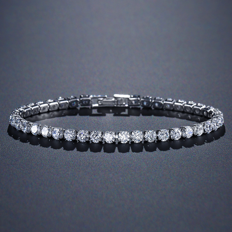 solid 925 sterling silver 4mm 17cm 19CM CZ tennis bracelet bangle for women wedding fashion jewelry wholesale party gift S4777(China)