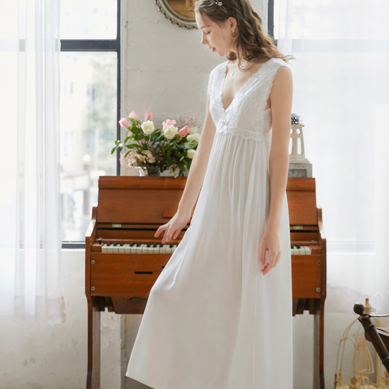 2020 Sexy Sleeveless Sleep Wear Night Dress Vintage Lace Nightgown Nightdress White Blue Pink Cotton Sleepwear Women Nightshirt