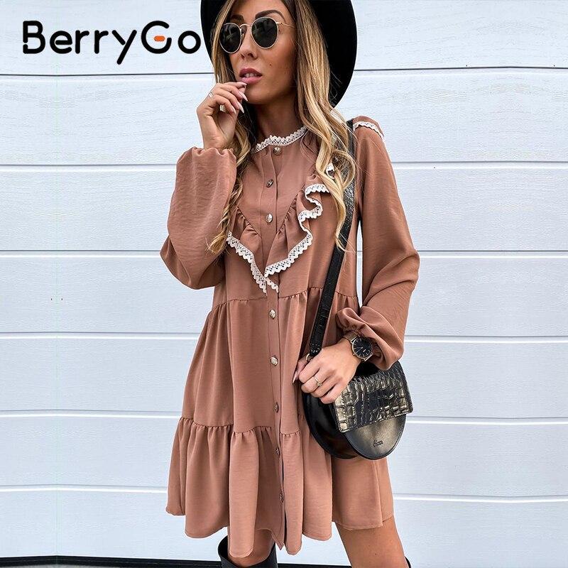 Женское платье с пышными рукавами BerryGo, элегантное кружевное свободное винтажное платье с рюшами на пуговицах, Повседневная Праздничная ра...