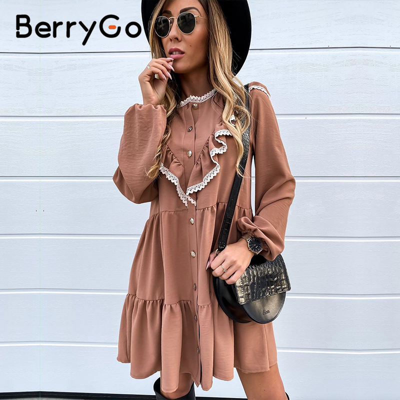 BerryGo Puff Sleeve Women Summer Dresses Elegant Lace Ruffle Buttons Loose Vintage Dress Casual Holiday Work Wear Office Dress