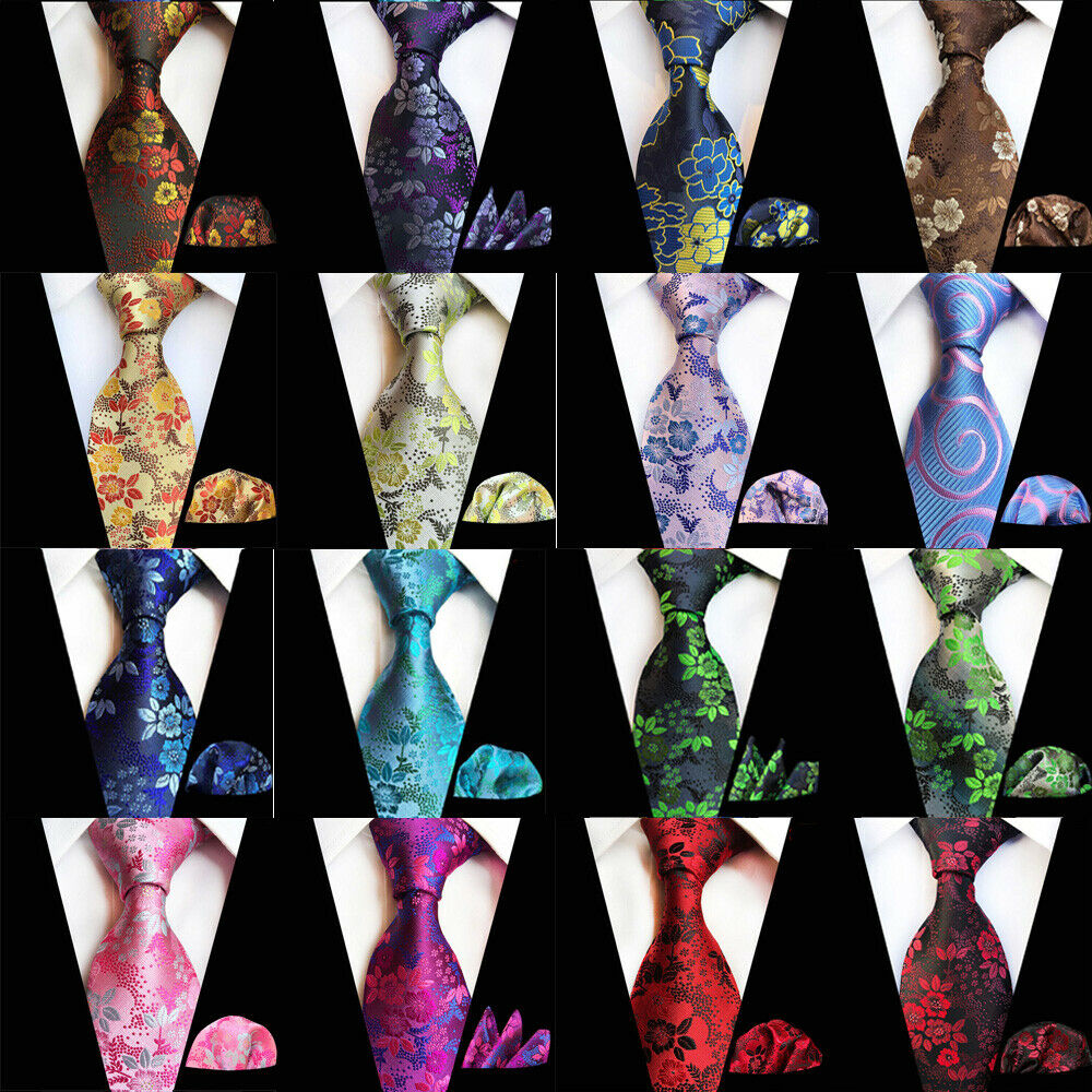 Men Matching Tie Handkerchief Hanky Neckties Floral Business Pocket Square Set