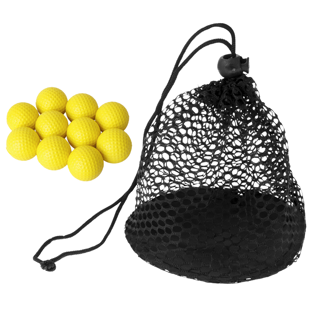 10 Pieces / Set Soft Foam Training Golf Balls With Golf 12 Balls Mesh Drawstring Closure Carrying Bag, Durable, Lightweight