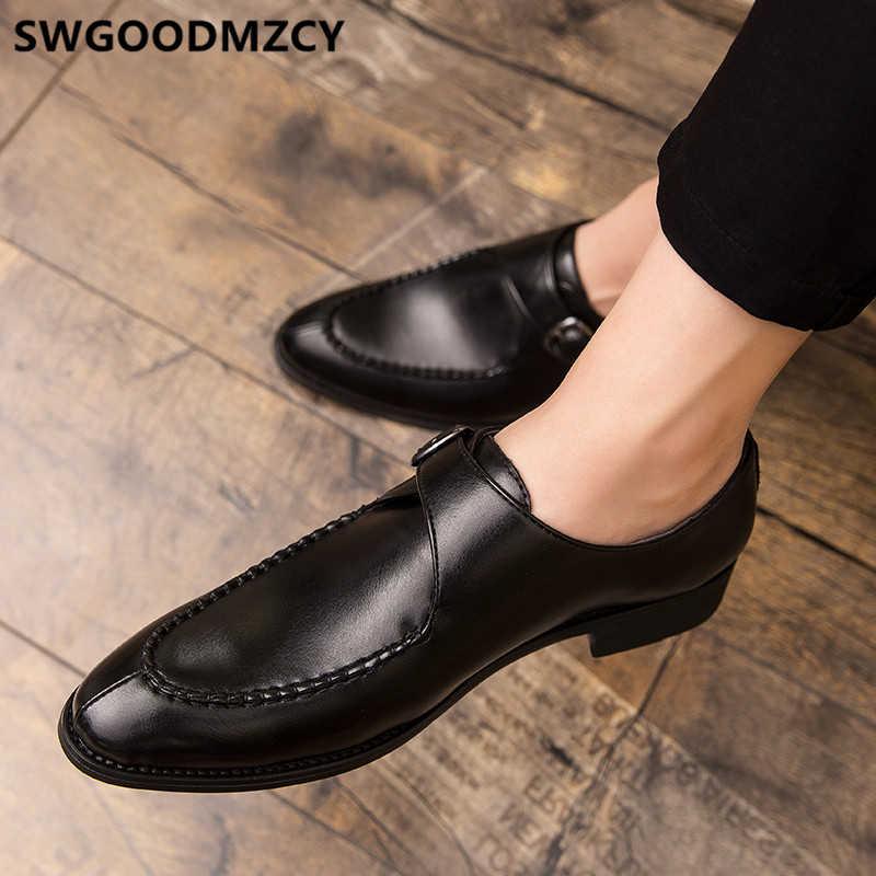 Keşiş askısı ayakkabı erkekler klasik akşam elbise lüks deri ayakkabı erkekler oxford İtalyan marka erkek resmi ayakkabı kahverengi elbise kuaför