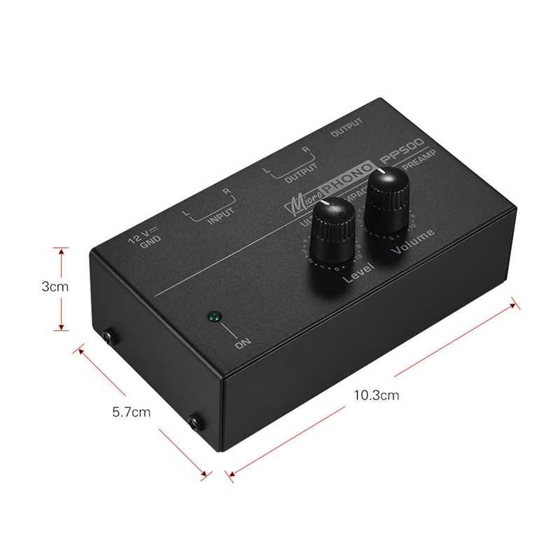 Pp500 超小型フォノプリアンプレベル & ボリュームコントロール Rca 入力 & 出力 1/4 インチ Trs 出力インタフェース