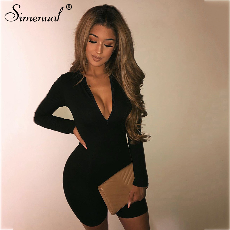 Simenual Sporty Active Wear Casual Women Rompers Long Sleeve Fashion Bodycon Zipper Playsuits Skinny Workout Biker Playtsuit