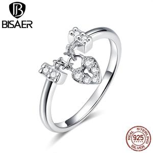 Image 2 - Hot Sale BISAER Purple Crystal Original 925 Sterling Silver Ring Love Heart Infinity Finger Rings for Women Engagement Jewelry