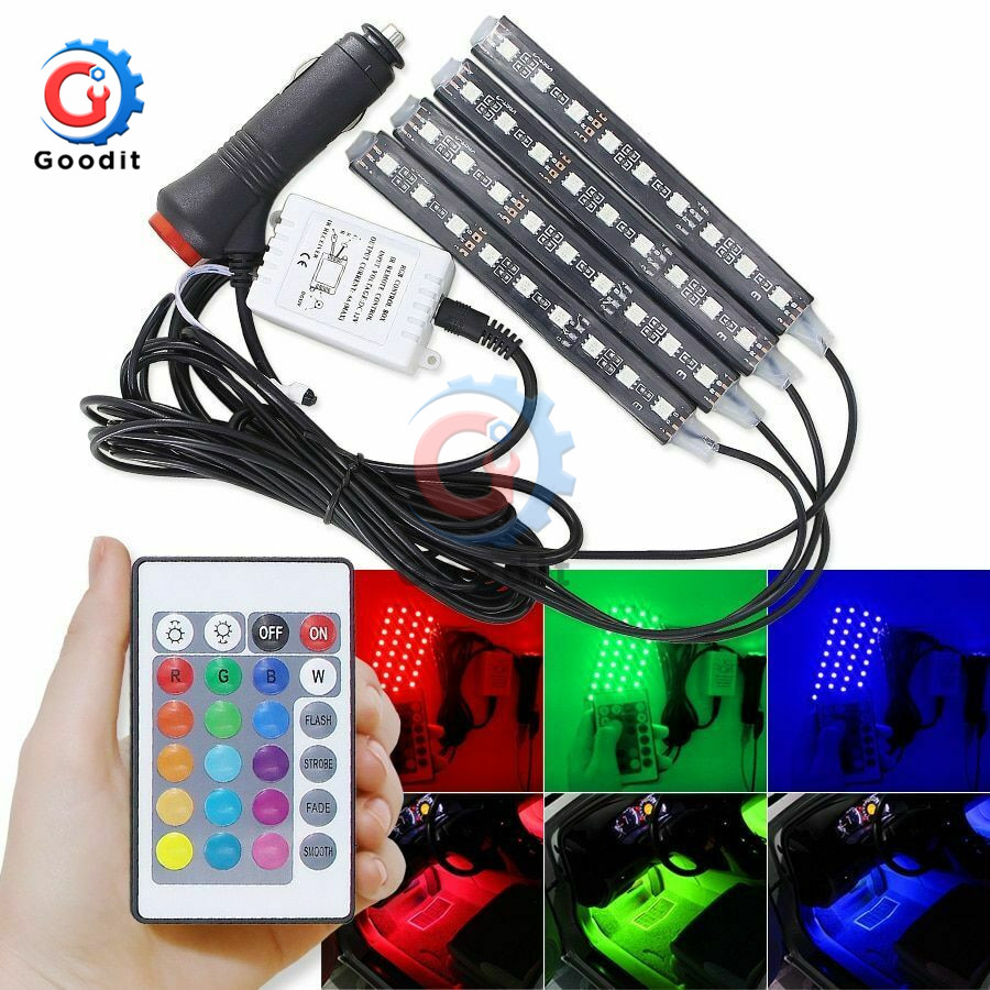 4pcs 9 LED Strip Light Kit Auto Interni RGB Color Wireless Music Control Automatic Controller 7 color For Atmosphere SMD5050 image