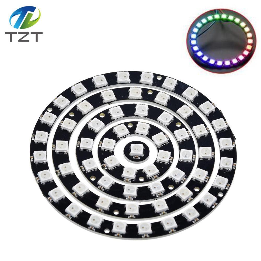 TZT RVB LED Bague 1Bit 8Bit 12Bit 16Bit 24Bit WS2812 5050 RVB LED + Pilotes Intégrés Intégré couleur actionne lumières Rondes
