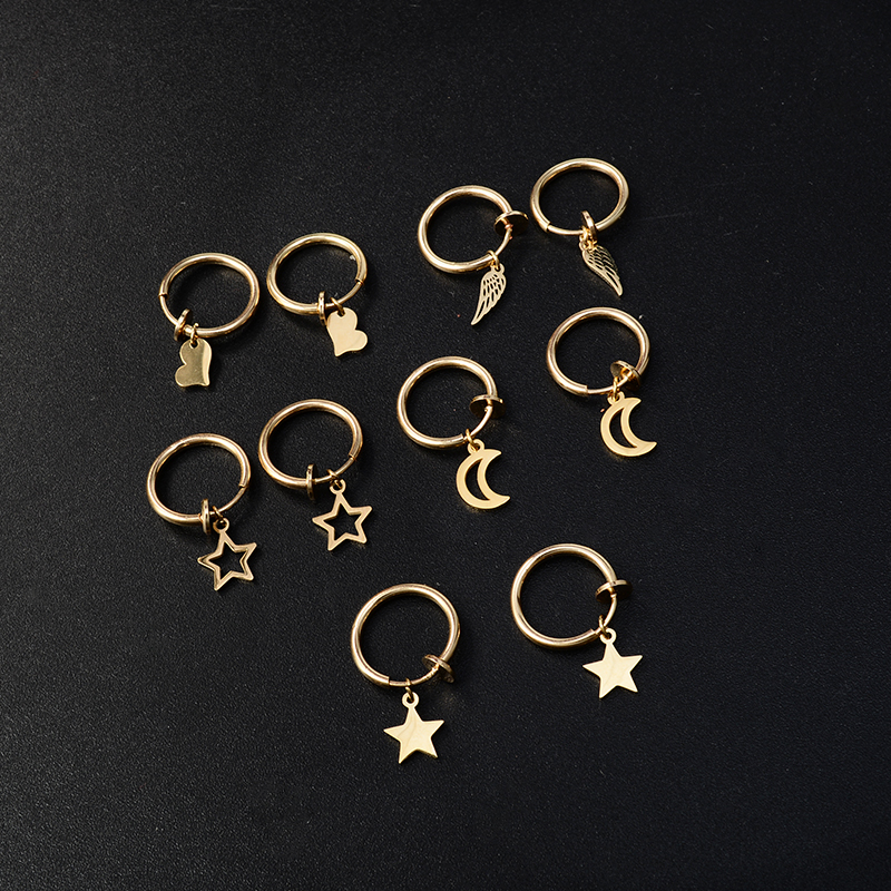 Retractable Earring Star Moon Heart Ear Rings Stainless Steel No Hole Fake Without Piercing Clip On Earrings For Women Ear Cuff