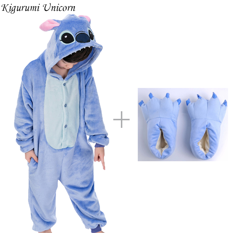 Kigurumi Unicorn Pajama Adult Animal Stitch Onesie Women Men Boys Girls Couple 2019 Winter Pajamas Suit Sleepwear Flannel Pijama
