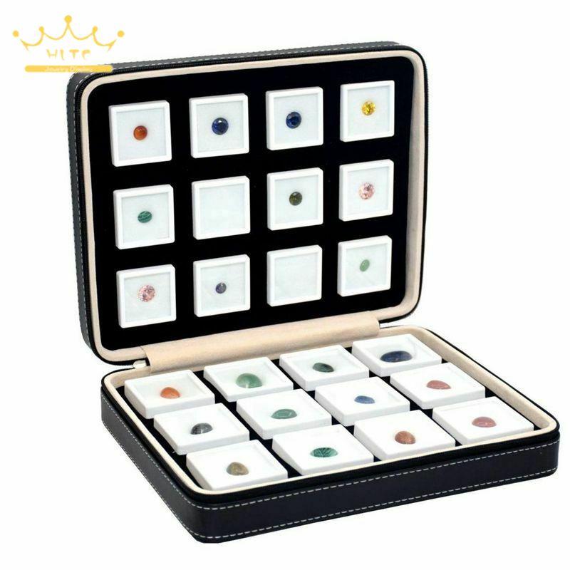 Коробка из искусственной кожи для хранения драгоценных камней, портативная Дорожная сумка на молнии с драгоценными камнями, коробка для де