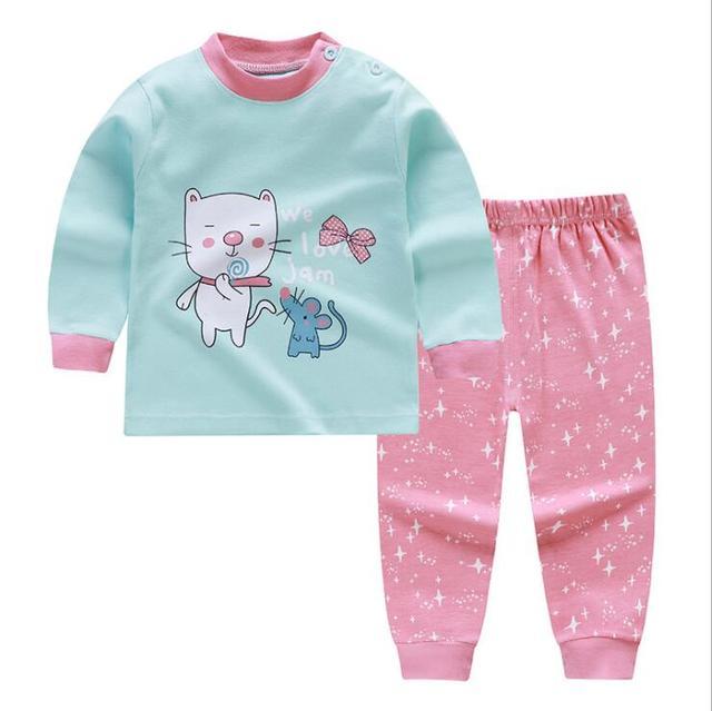 Unisex 2 sztuk/zestaw 6M-4T bawełniana bielizna spodnie w komplecie chłopiec niemowlęta domowa piżama ubranka niemowlęce na zimę święto dziękczynienia baby Girl komplety dziecięce