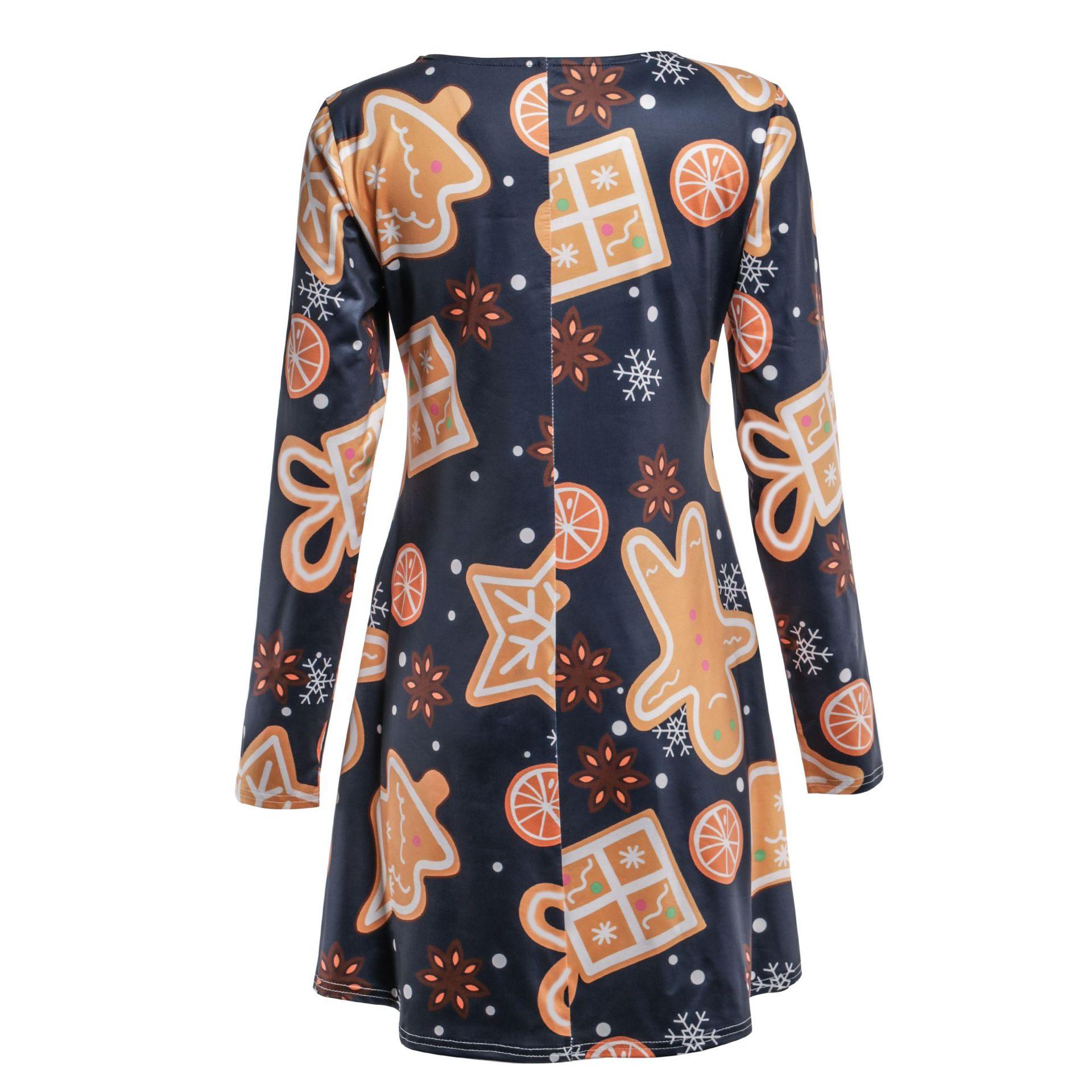 Print Long Sleeve Autumn Winter Christmas Dress Women 19 Casual Loose Short Party Dress Plus Size S-5XL Vestidos 14