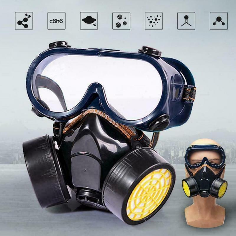 Emergency Respirator Mask Chemical Gas Mask With Goggles Dual &  Protection Face Mask Black Antivirus Mask With Valve