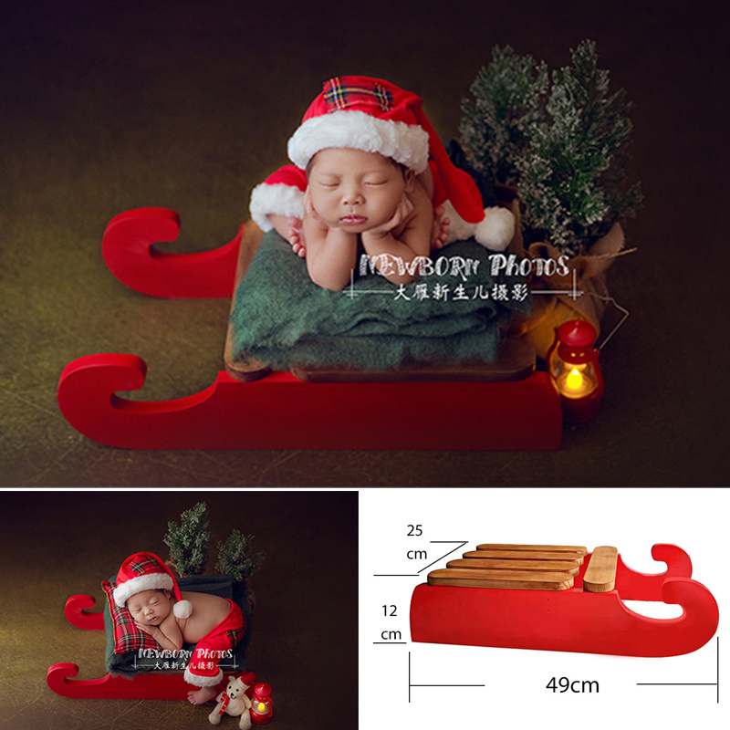 Newborn Baby Photo Props Wood Red Christmas Sleigh Posing Bed Fotografia Accessory Baby Photo Shoot Newborn Christmas Props Boy