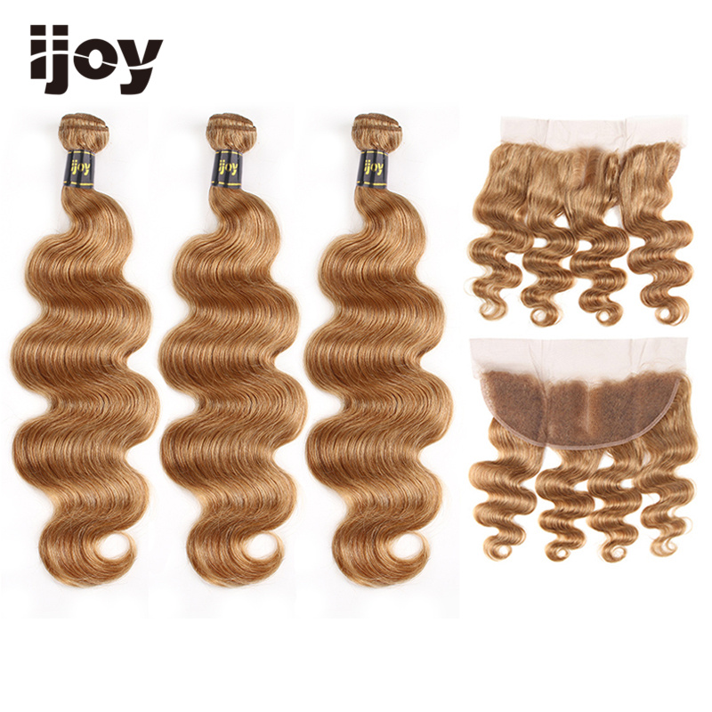 "Body Wave Human Hair 3 Bundles With Frontal 4x13 Lace #27 Honey Blonde 8""-26"" Brazilian Hair Weave Bundles Non-Remy IJOY"