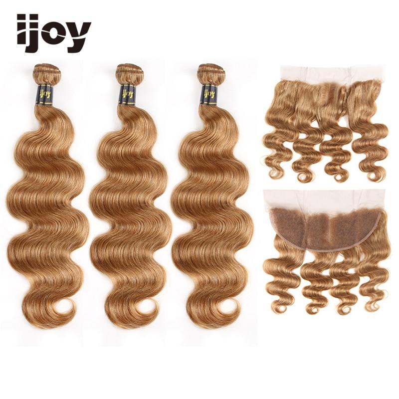 "Body Wave Human Hair 3 Bundles With Frontal 4x13 Lace #27 Honey Blonde 8""-26"" Brazilian Hair Weave Bundles Non-Remy IJOY"