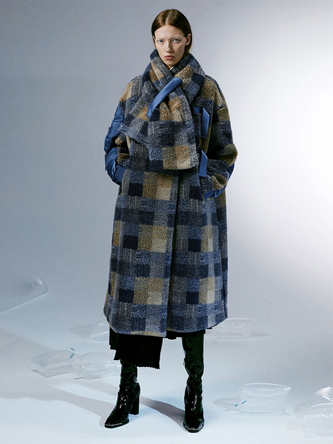 IRINACH112 2020 Winter New Collection oversize plaid berber fleece wool coat