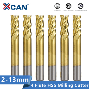 цена на XCAN HSS Milling Cutter 1.5-13mm Titanium Coated Straight Shank End Mill for Wood Steel Milling 4 Flute Spiral CNC Router Bit