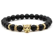Классический матовый черный браслет в стиле ретро с бусинами