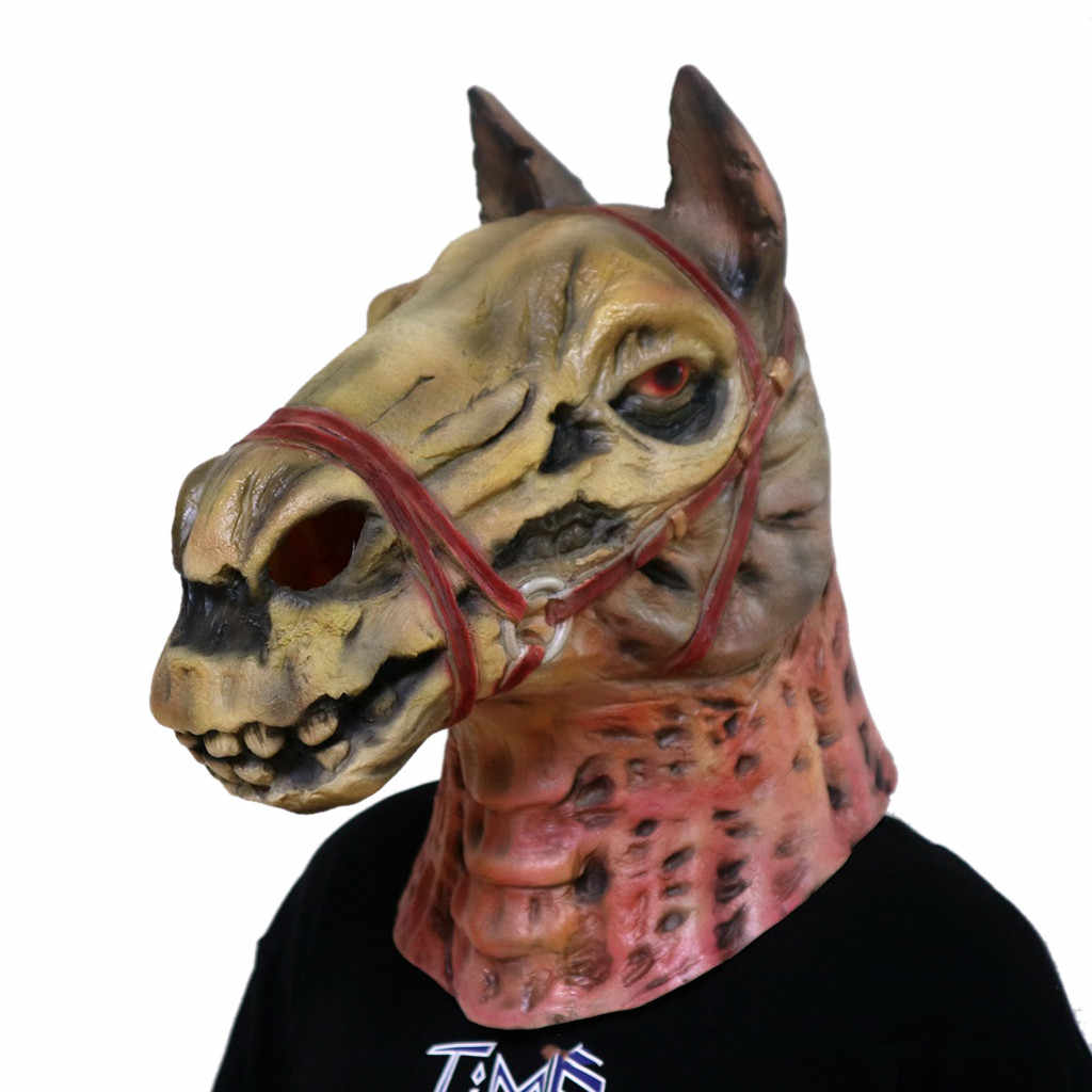 New Fashion Skull Horse Head Style Mask Melting Face Adult Latex Costume Halloween Scary Dance mask Wholesale Free Ship Z4