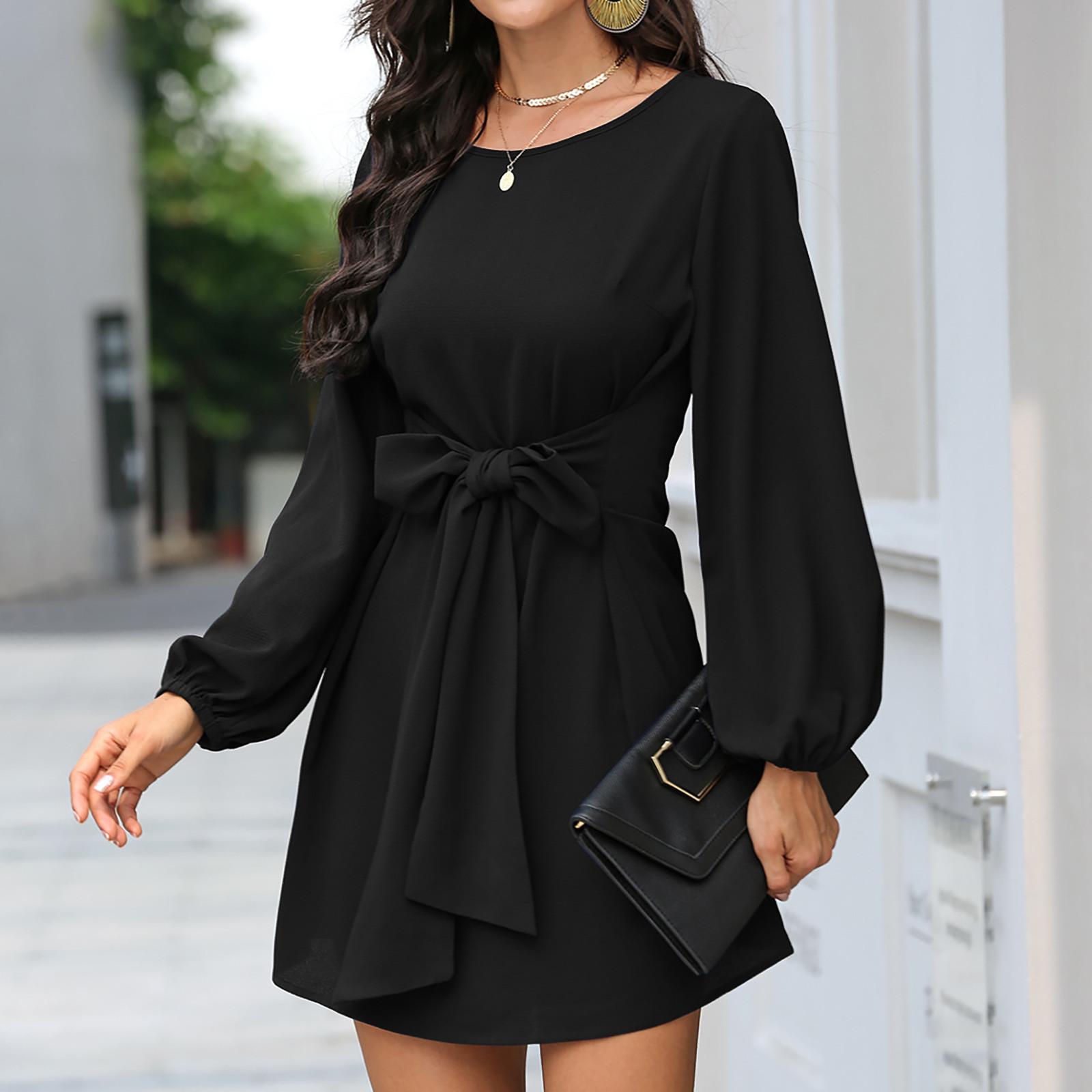 4# Women Slim Waist Dress Long Sleeve Solid Color Dress vestidos de fiesta dresses for women 2020 vestido Winter dresses