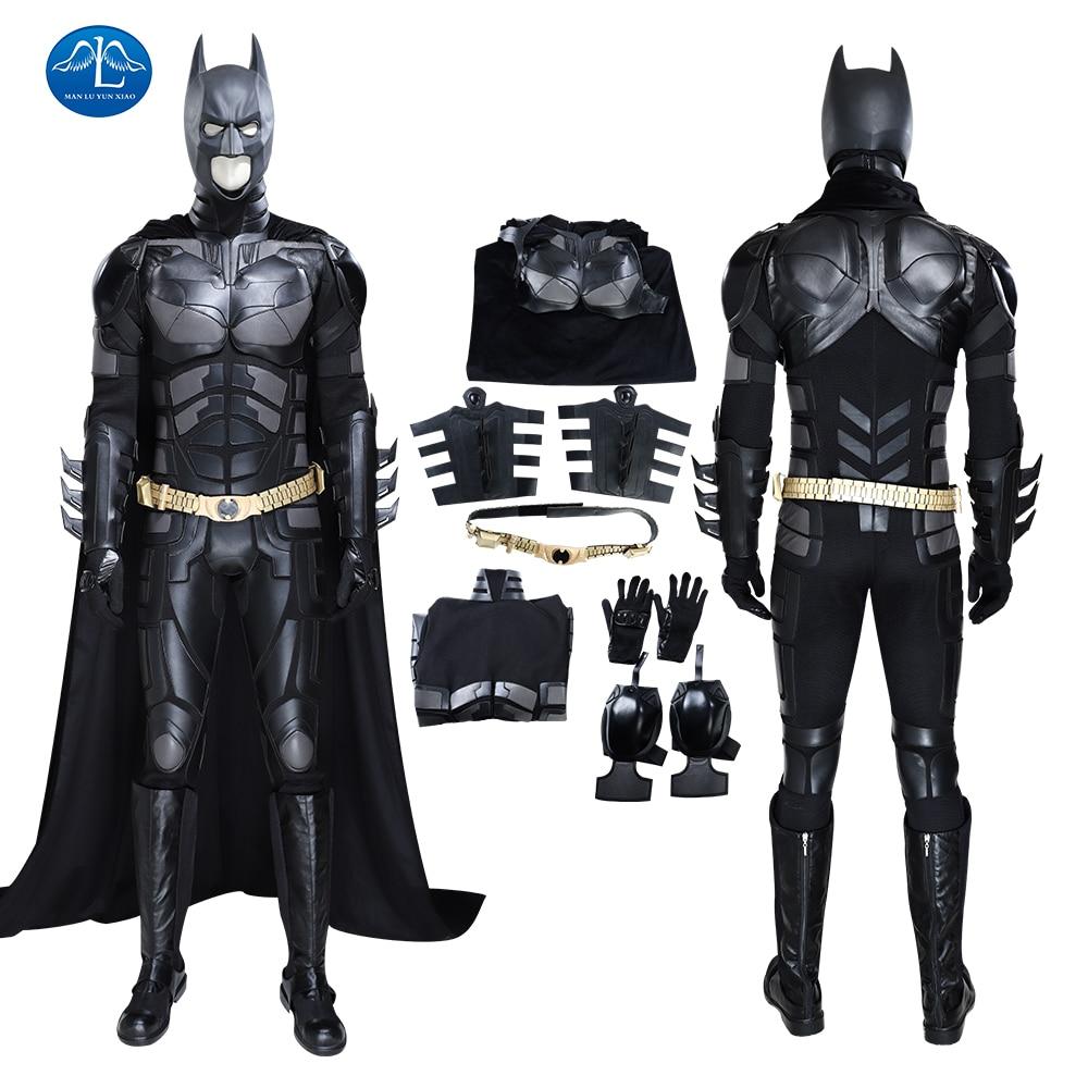 Batman Cosplay Outfit The Dark Knight Rises Costume Batman Bruce Wayne Complete Black Suit With Headgear Golden Belt Cape