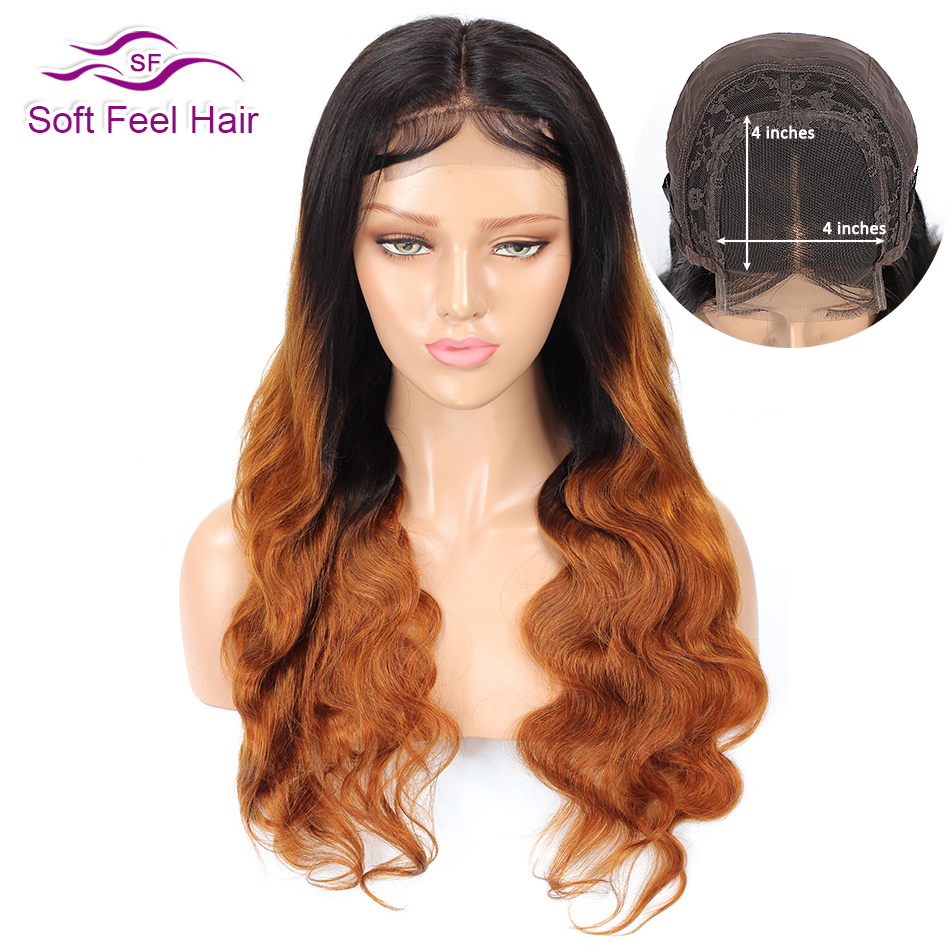T1B/30 4*4 Lace Closure Wig Soft Feel Hair Ombre Lace Closure Human Hair Wigs For Black Women 2Tone Remy Brazilian Body Wave Wig