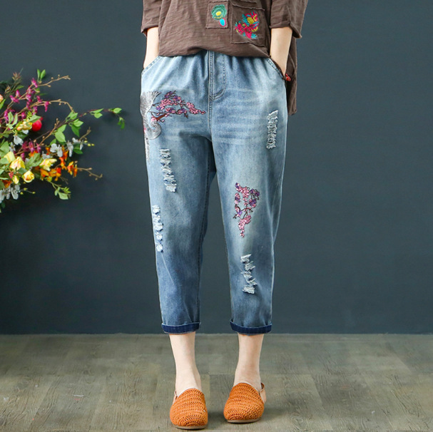 19 Spring New Style Embroidered Crane Embroidery Light Blue Loose-Fit Jeans Capri Pants Frayed Elastic Waist