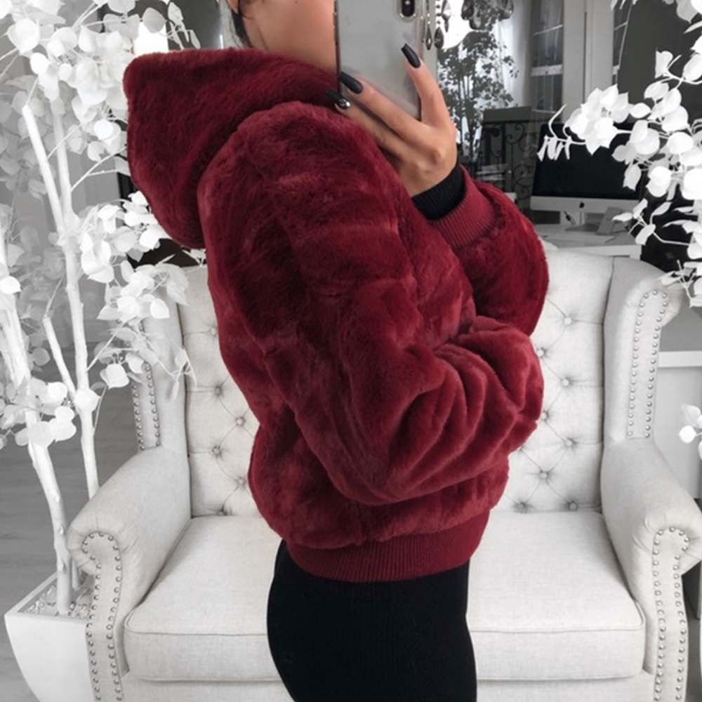 Sfit Women Coat Hood Faux-Fur-Jacket Rabbit-Fur Fake Pink Black Fashion New with High-Waist title=