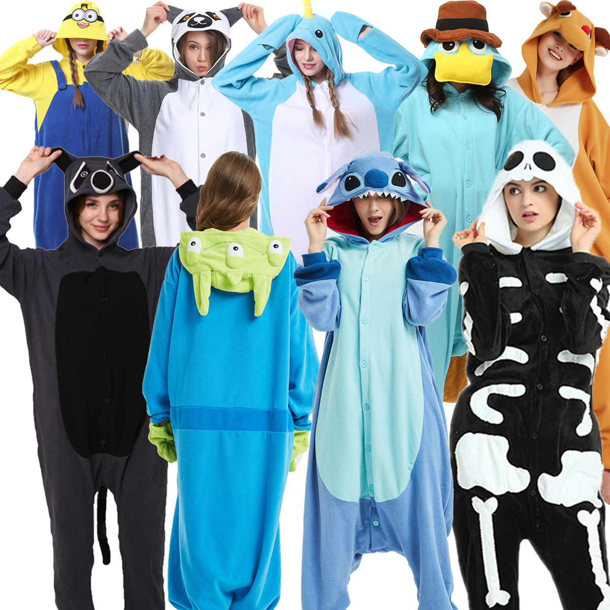 Kigurumi Pajamas Stitch Skeleton Adults Animal Onesies Unisex Winter  Shark  Onesies Women Men Anime Costumes Flannel Pajamas