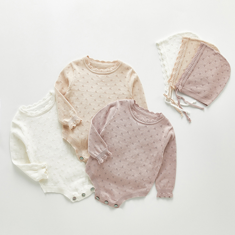 2020 New Toddler Baby Girls Knitting Romper Long Sleeve Knitting Jumpsuit Newborn Baby Girl Triangle Creeper Romper Have Hat
