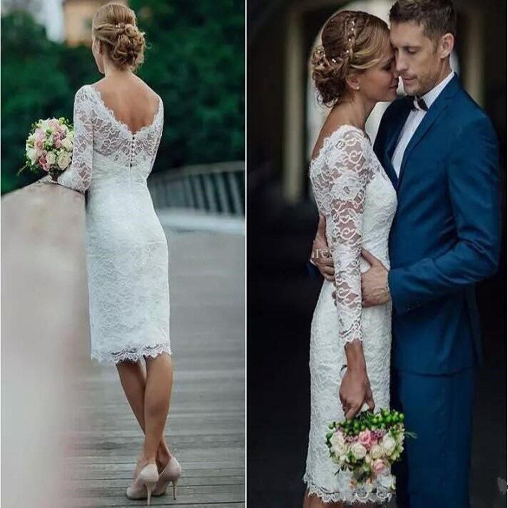 Charming Short Full Lace Wedding Dresses 2019 Long Sleeves Sheath Knee Length Country Beach Dress For Bridal Gowns Vestidos De