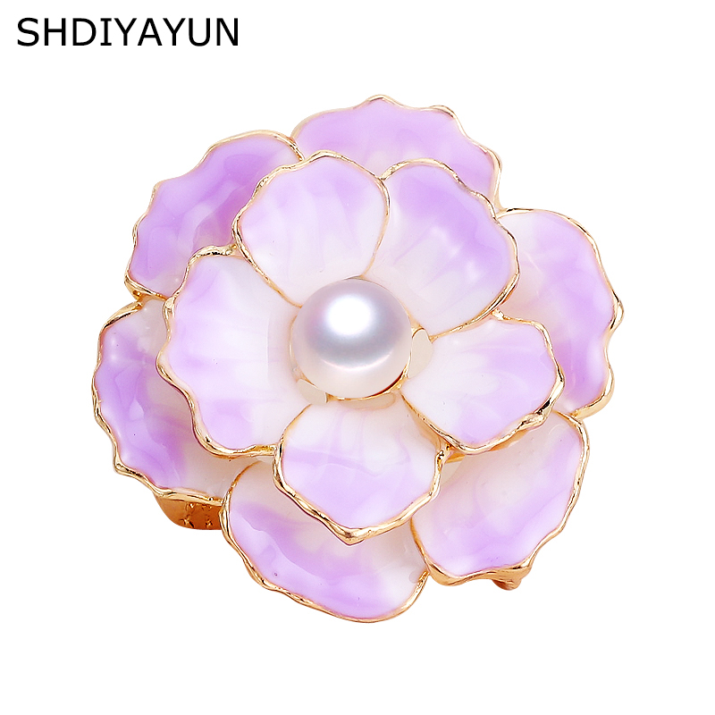 SHDIYAYUN New Pearl Brooch Enamel Flower Brooch Simple Pins For Women Natural Freshwater Pearl Jewelry Dropshipping Mother Gift