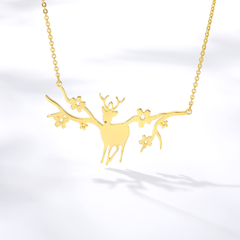 Fashion Plum Flower Deer Necklaces Pendants For Women Lover Rose Gold Silver Color Long Chain Female Pendant Necklace Jewelry image