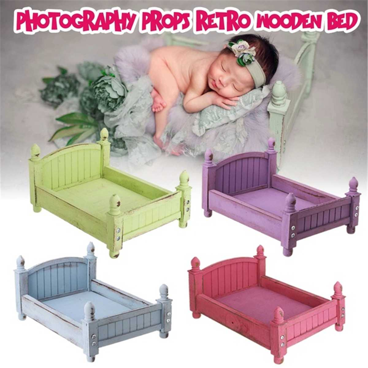 Newborn Photography Props Studio 4 Colors Optional  Wooden Bed Original Design Foldable Removable Bed Photo Shoot Posing