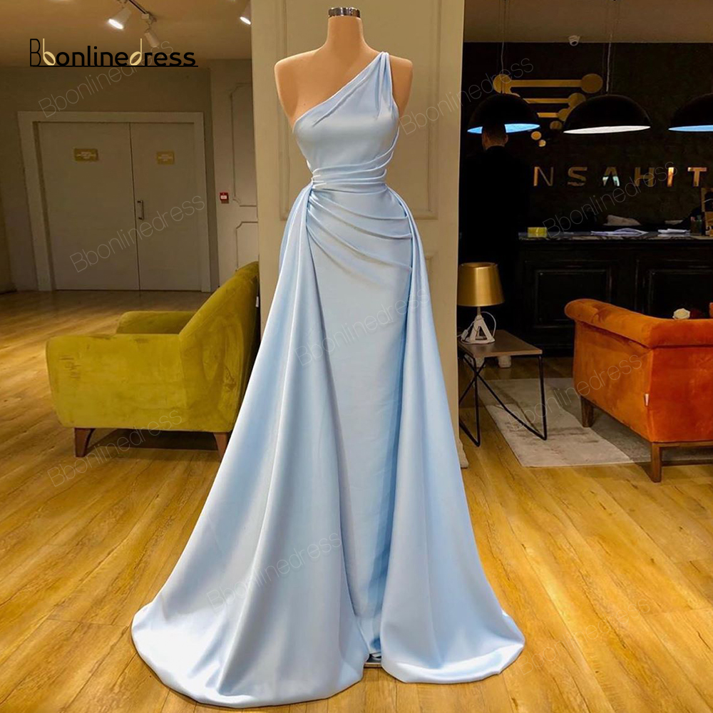 Party-Dress Blue Evening Dresses 2020 A-Line Long Prom Dress Pleat Charming One Shoulder Formal Gowns Robe-de-soiree