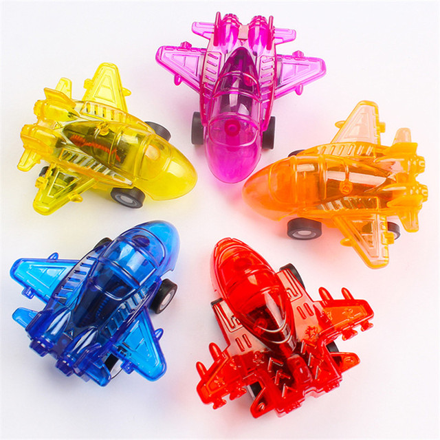 10PCS Transparent Pull Back Plane Kids Birthday Party Favor Toys Baby Shower Guest Gift Souvenir Boys Giveaway Pinata Fillers