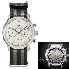 Estrela vermelha 42mm cronógrafo masculino relógios st1901 movimento com dispositivo gooseneck relógio de pulso 21 zuan masculino mão mecânica vento