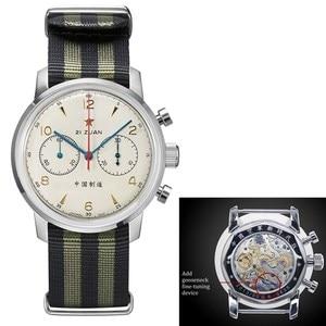 Image 1 - RED STAR 42mm Mens Chronograph Watches ST1901 Movement with Gooseneck Device Clock 21 Zuan Men Mechanical Hand Wind Wrist Watch
