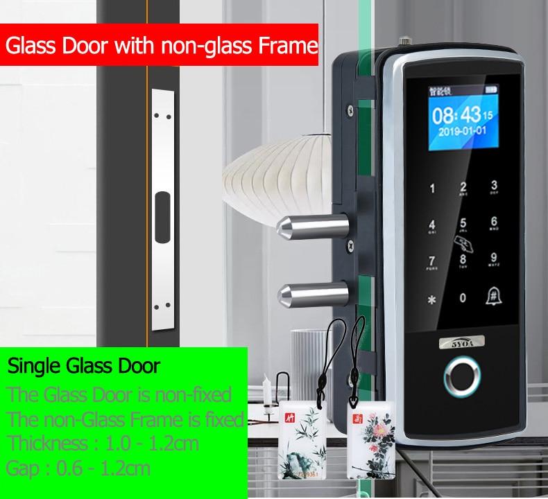 H6b6146594c0d43c786c4e6d03039714eg Smart Door Fingerprint Lock Electronic Digital Gate Opener Electric RFID Biometric finger print security Glass Password Card